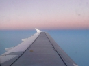 Airbus A320 aircraft wing during flight photo